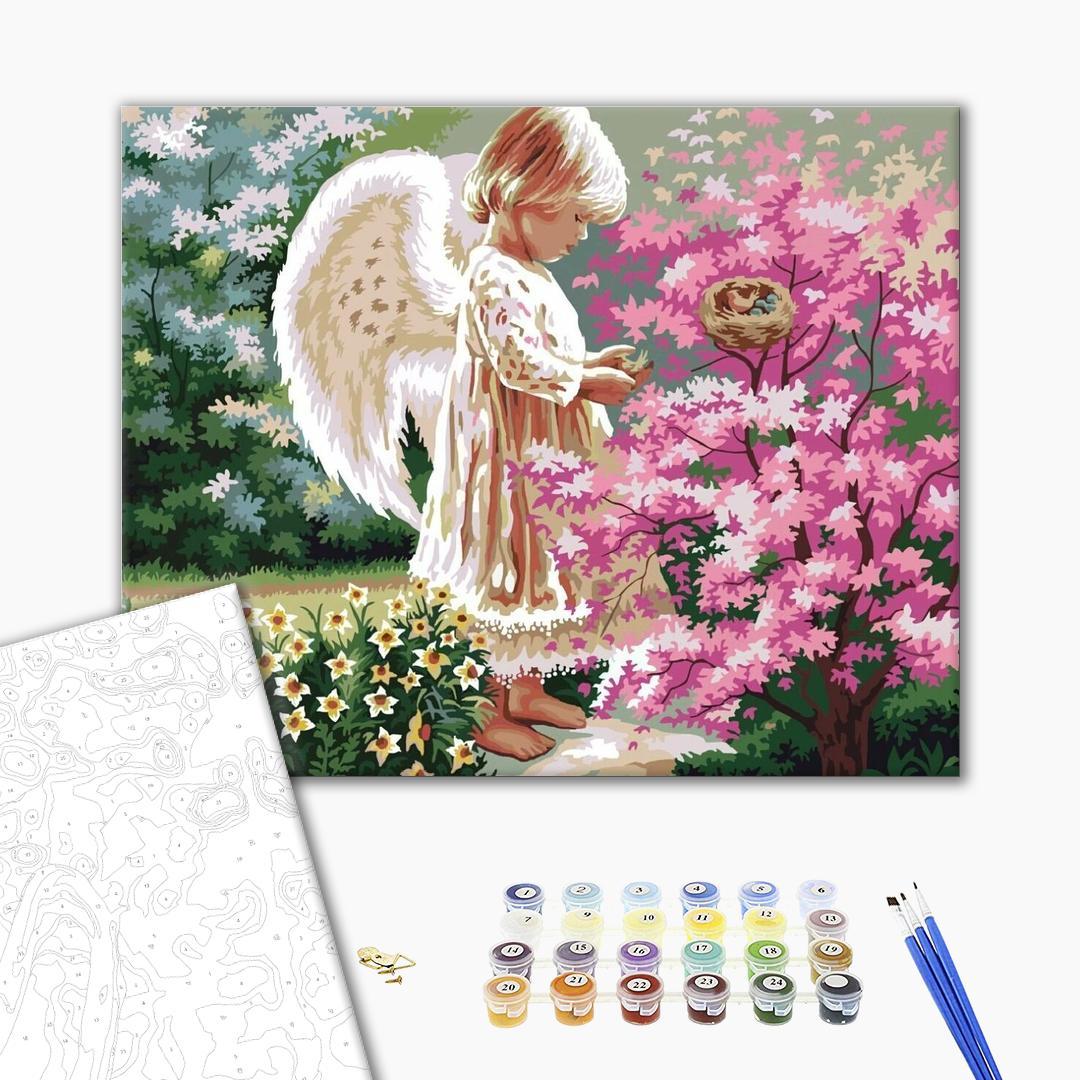 Картина по номерам Дети и ангелочки - Ангел счастья