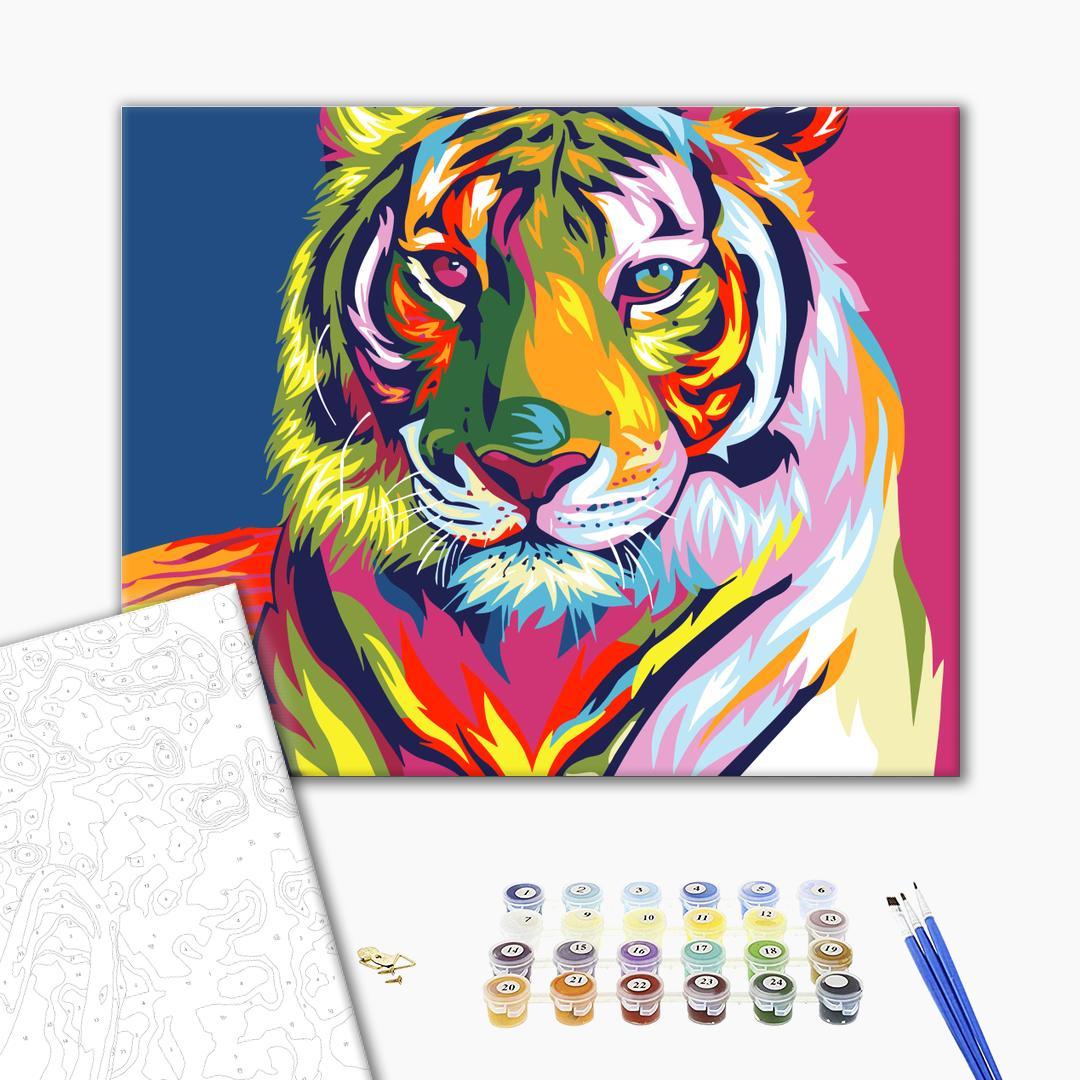 Картина по номерам Поп-арт - Тигр в стилі поп арт