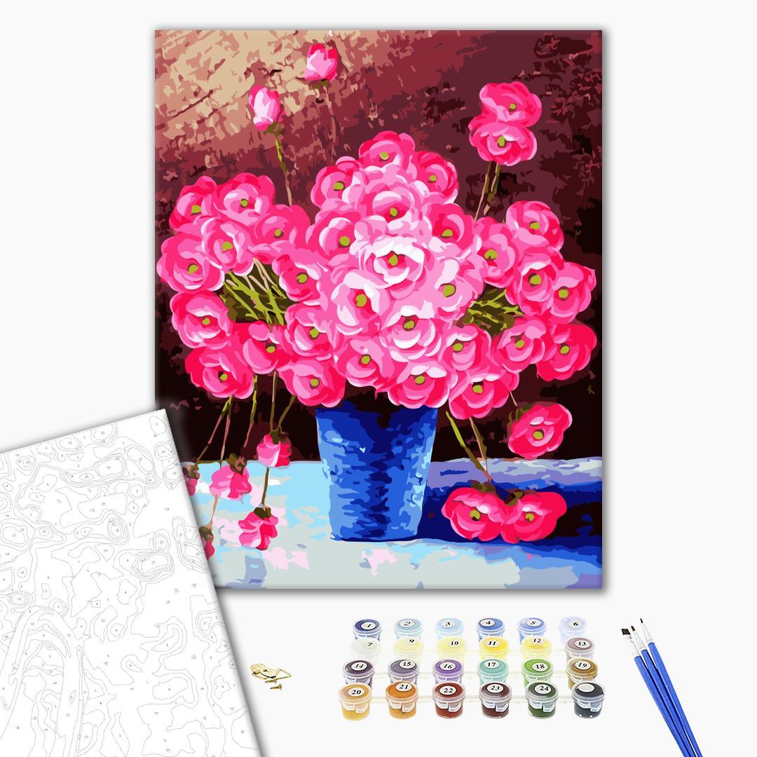 Картина по номерам Цветы - Рожеві квіти у синій вазі