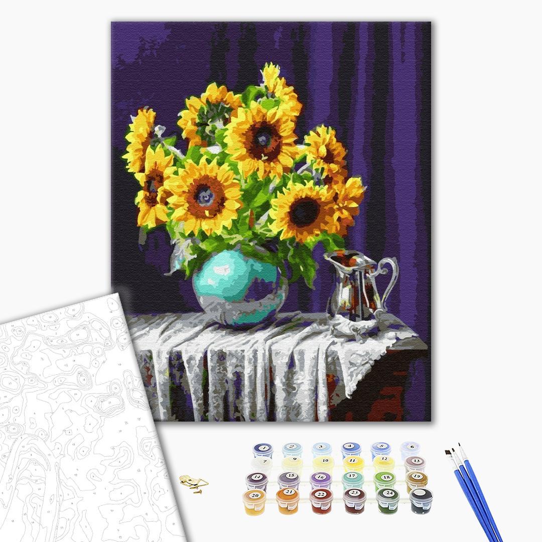 Картина по номерам Цветы - Соняшники у вазі