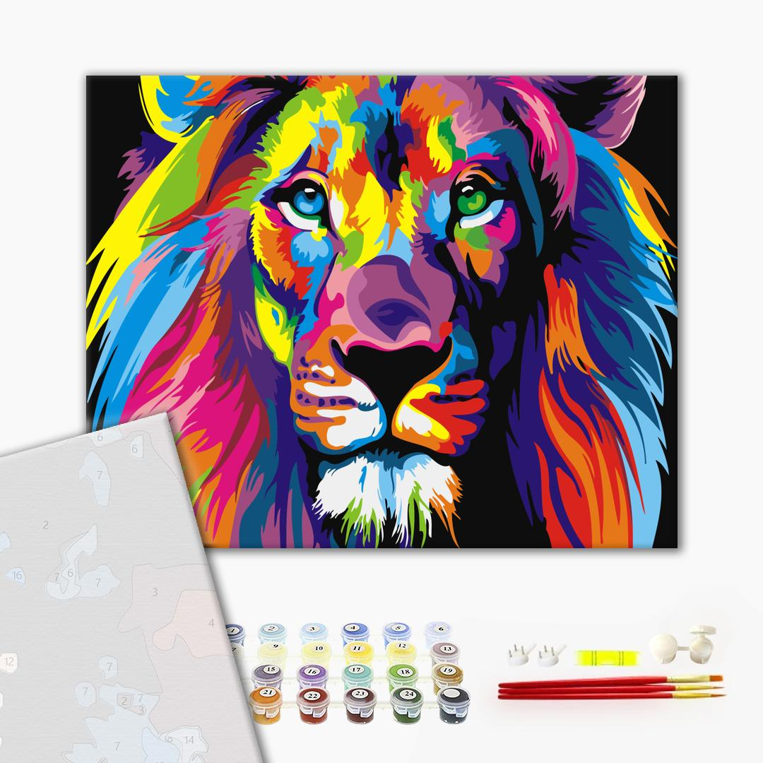 Картина по номерам ПРЕМИУМ картины - Райдужний лев