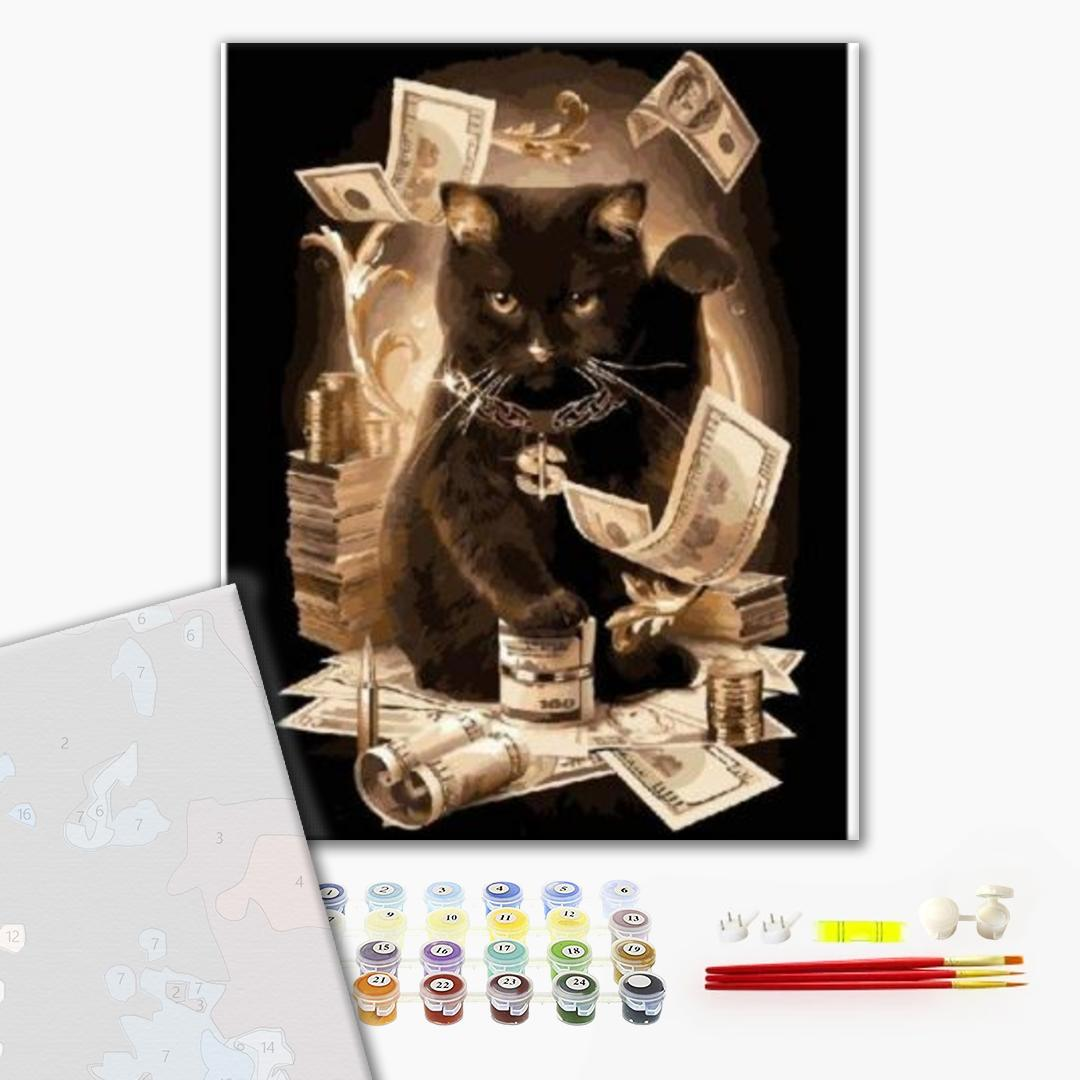Картина по номерам ПРЕМИУМ картины - Денежный кот