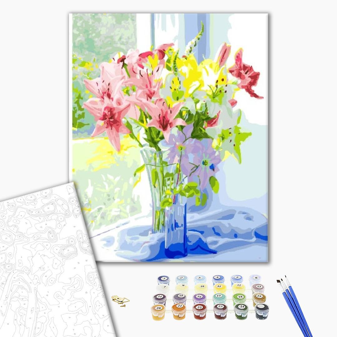 Картина по номерам Цветы - Весняний букет лілій