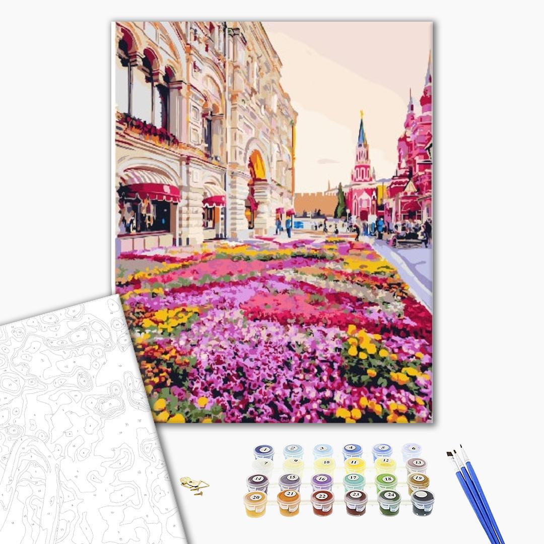 Картина по номерам Пейзажи - Розовая клумба