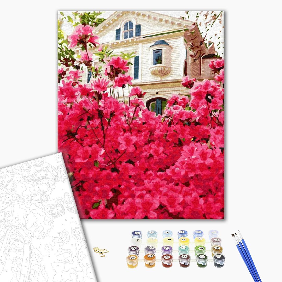 Картина по номерам Города - Будинок у квітах