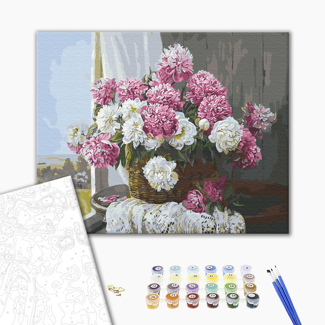 Картина по номерам Цветы - Букет пионов у окна