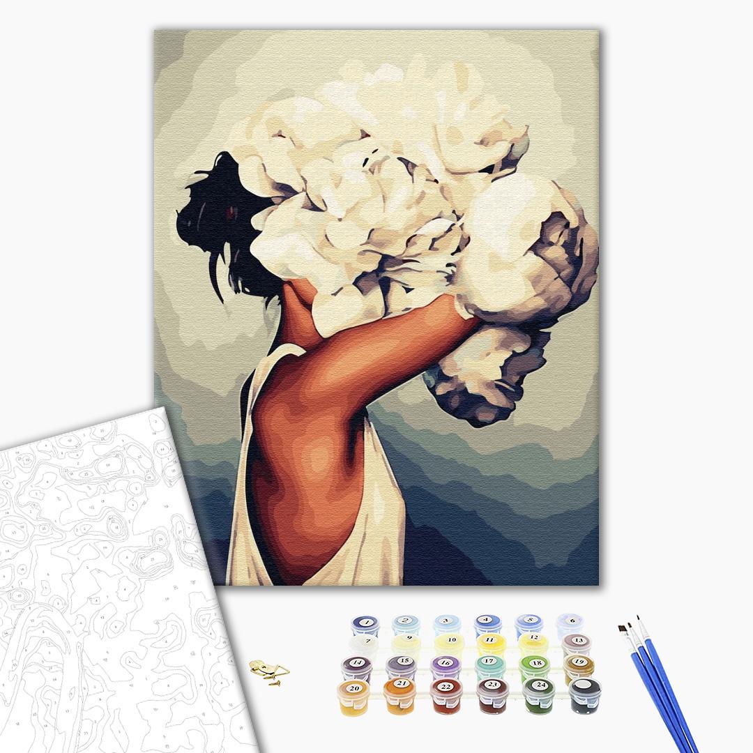 Картина по номерам Уникальные сюжеты - Женщина в пионах