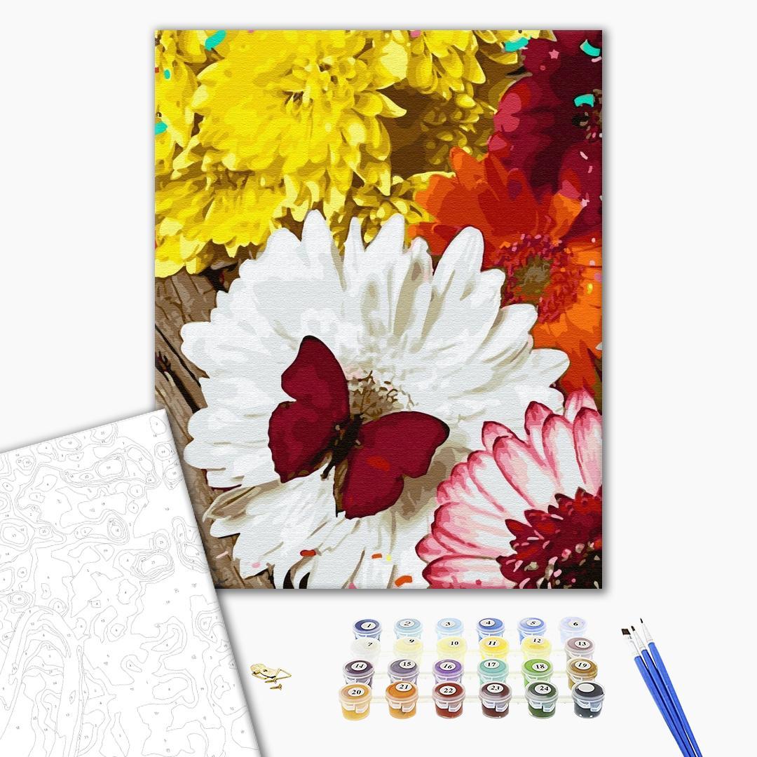 Картина по номерам Цветы - Метелик на Герберах