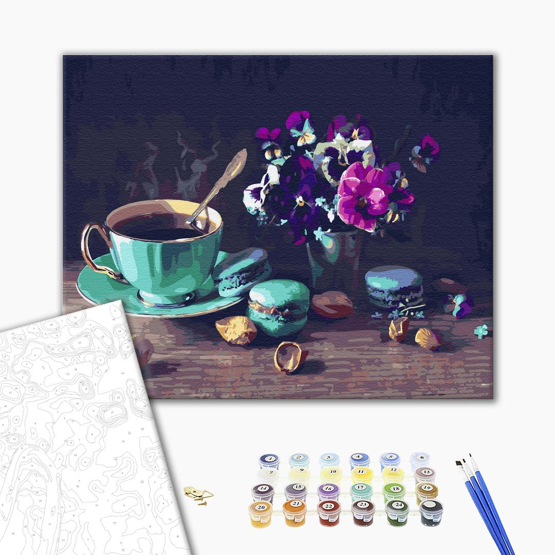Картина по номерам Натюрморты - Кофе с макарунами