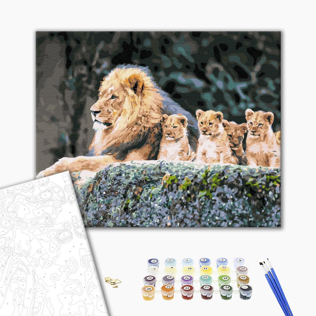 Картина по номерам Животные, птицы и рыбы - Львиное семейство