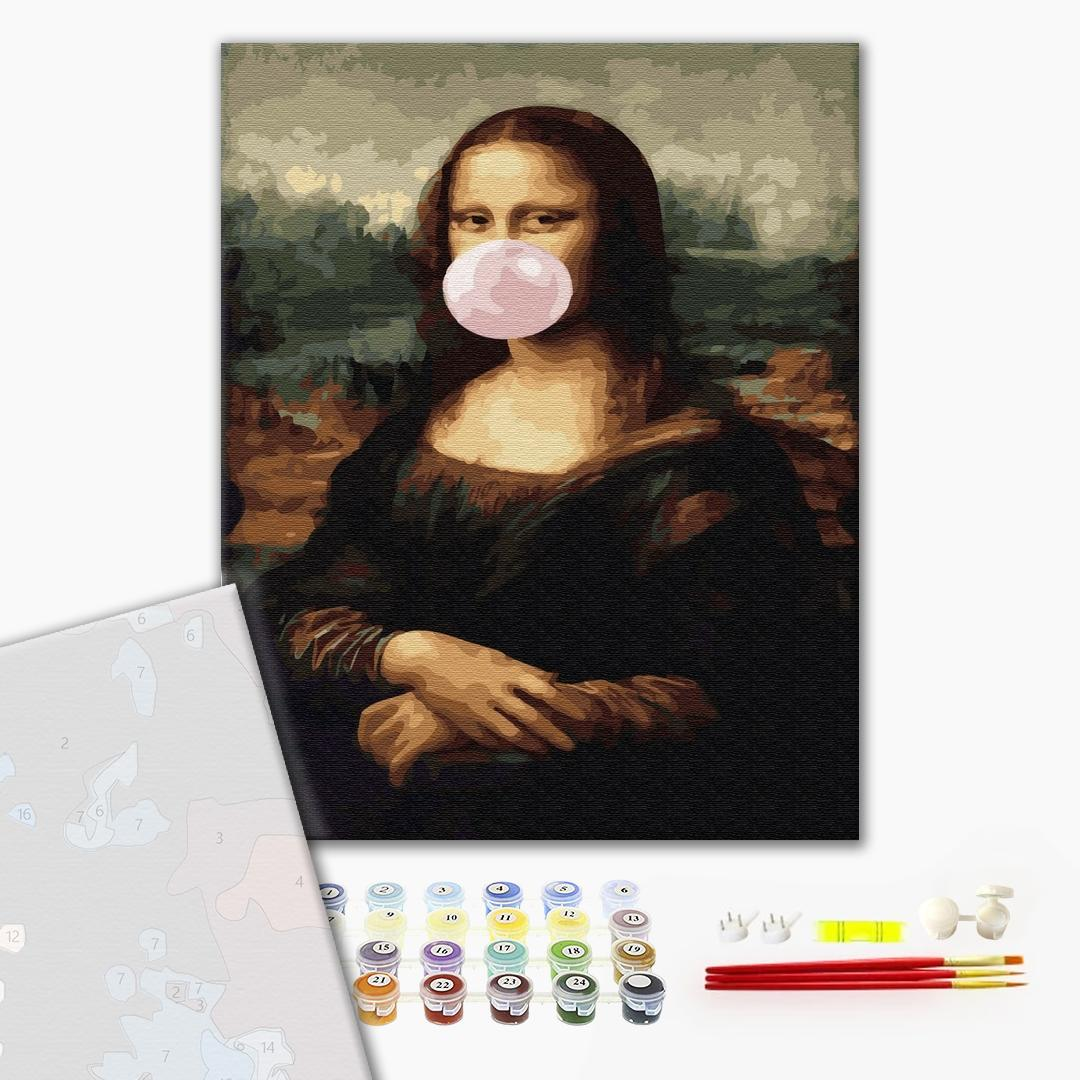 Картина по номерам ПРЕМИУМ картины - Мона Лиза с жвачкой