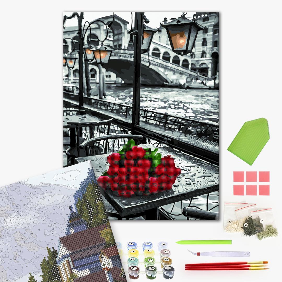 Алмазные картины-раскраски - Троянди під дощем