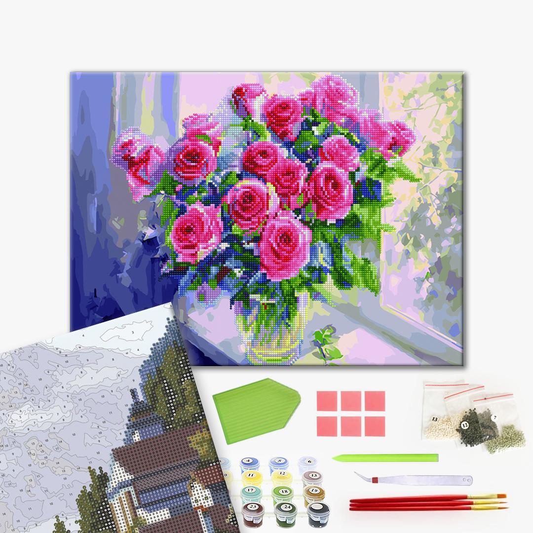Алмазные картины-раскраски - Розовые розы в вазе