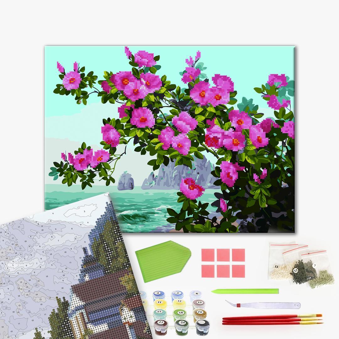 Алмазные картины-раскраски - Трояндовий кущ на узбережжі