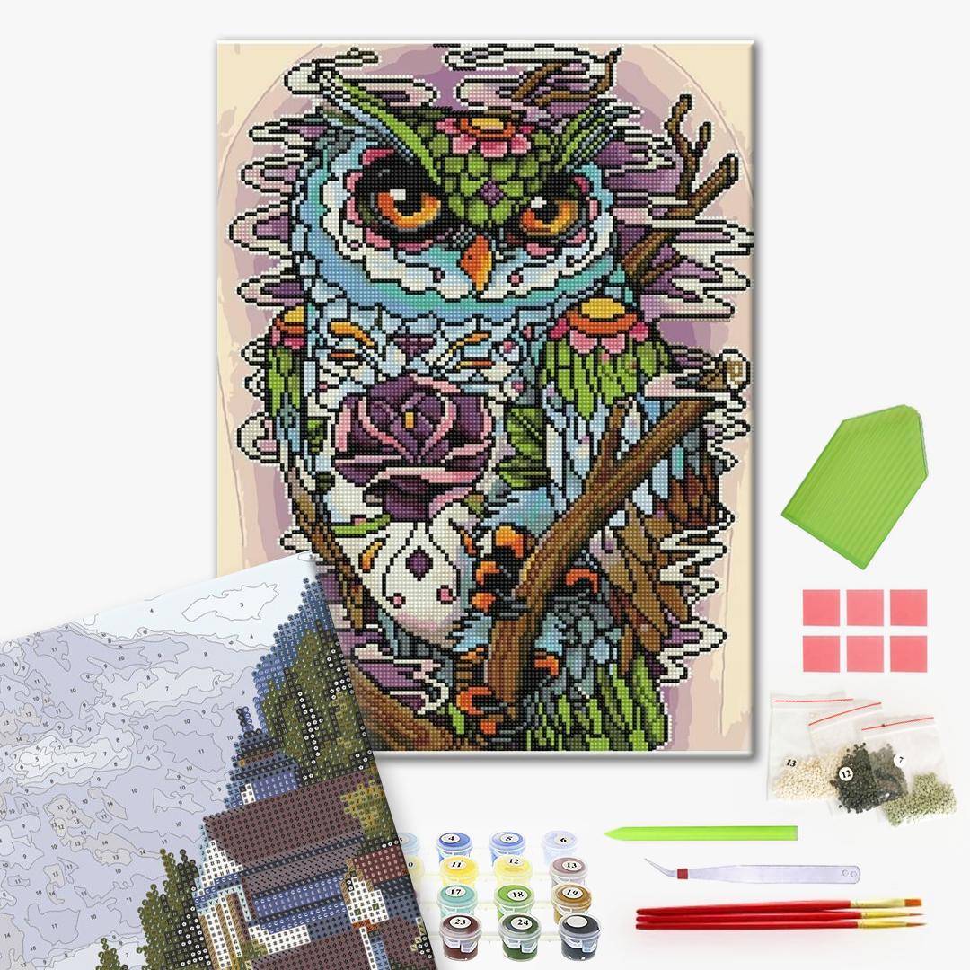Алмазные картины-раскраски - Кольорова сова