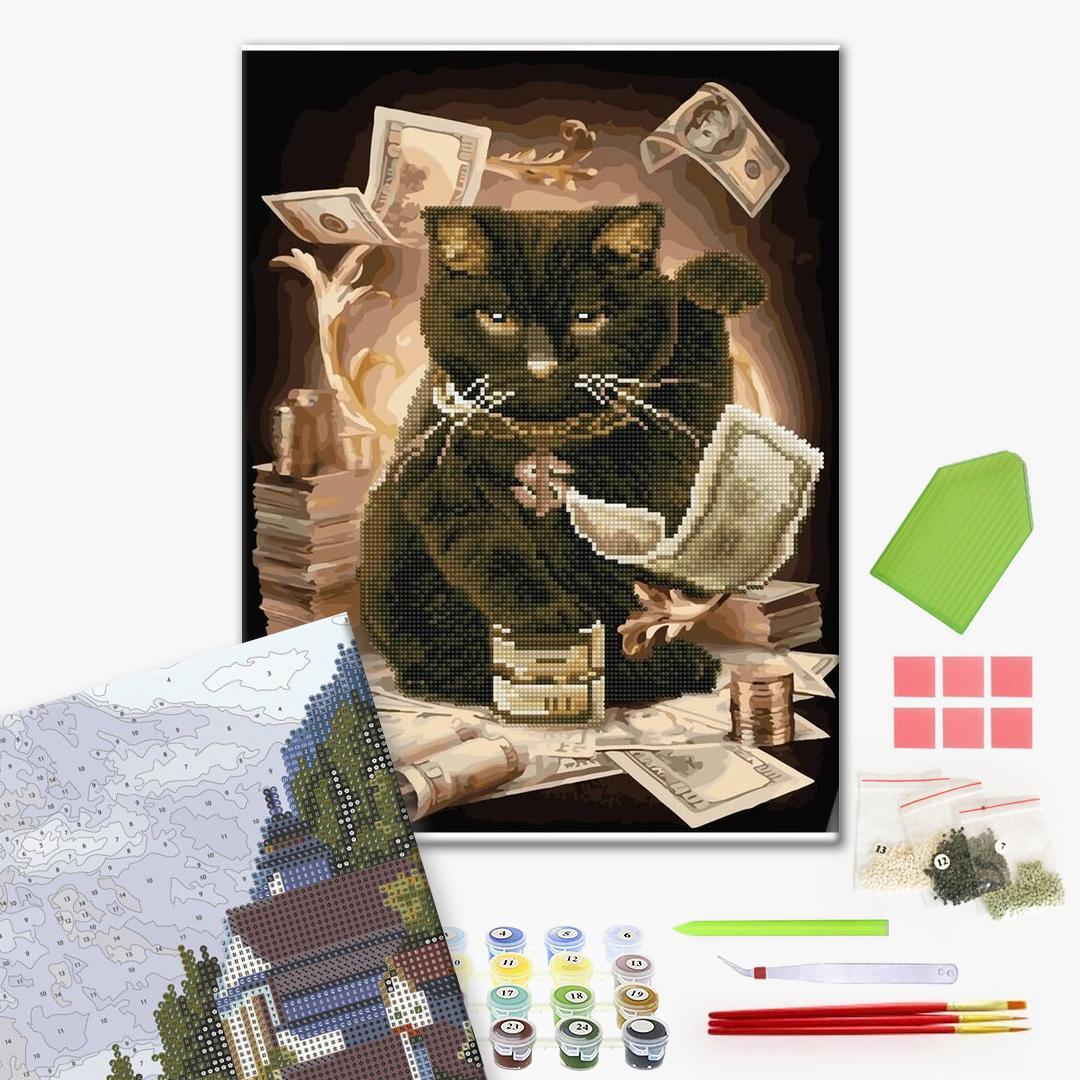 Алмазные картины-раскраски - Грошовий кіт