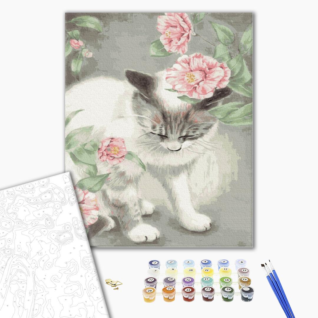 Картина по номерам Животные, птицы и рыбы - Киця в квітах