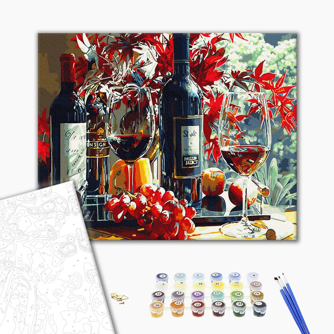 Картина по номерам Цветы - Багряне вино