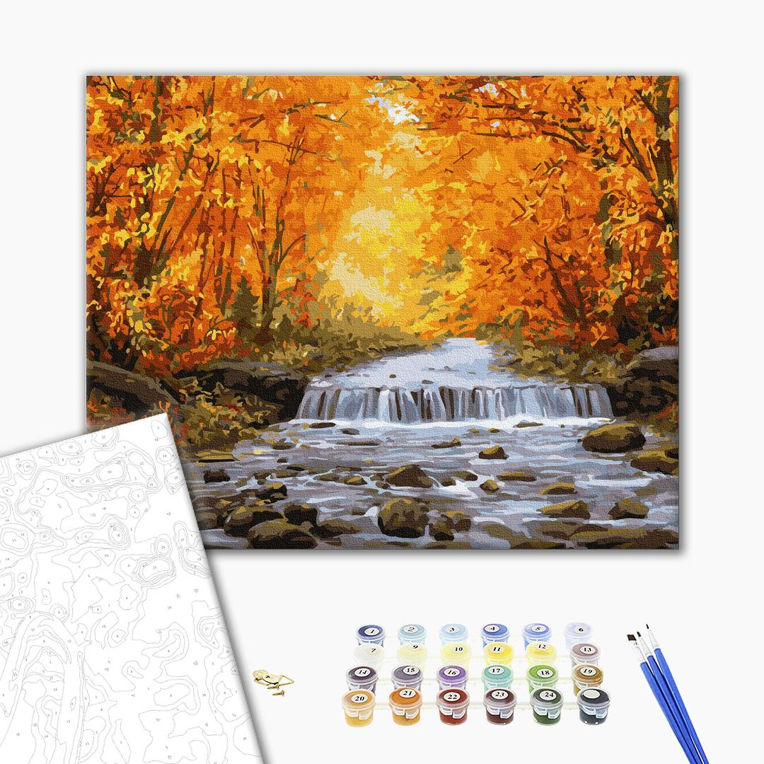 Картина по номерам Природа - Водоспад в осінній позолоті