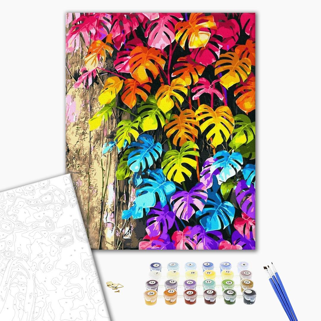 Картина по номерам Цветы - Кольорове листя