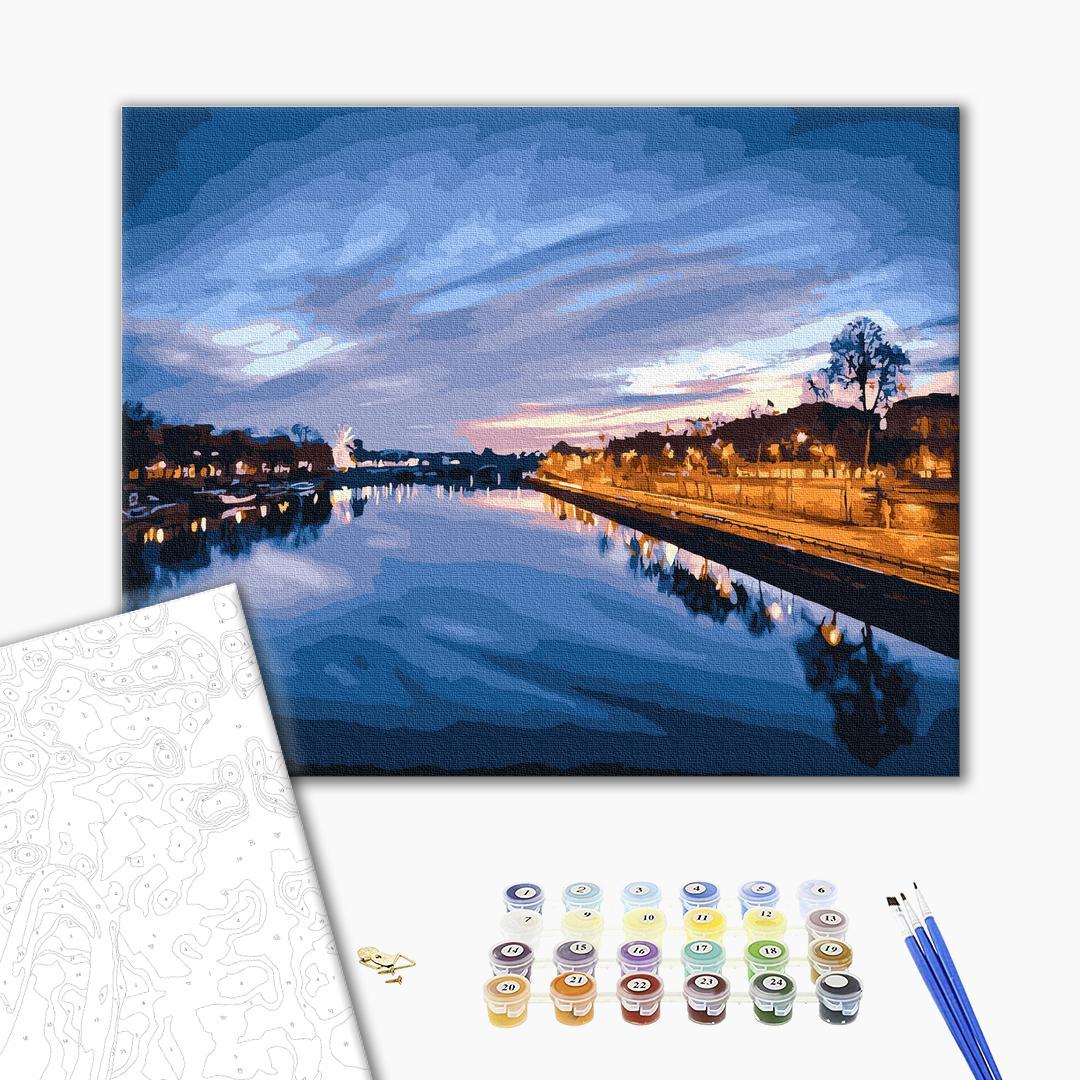 Картина по номерам Города - Вид на нічну річку