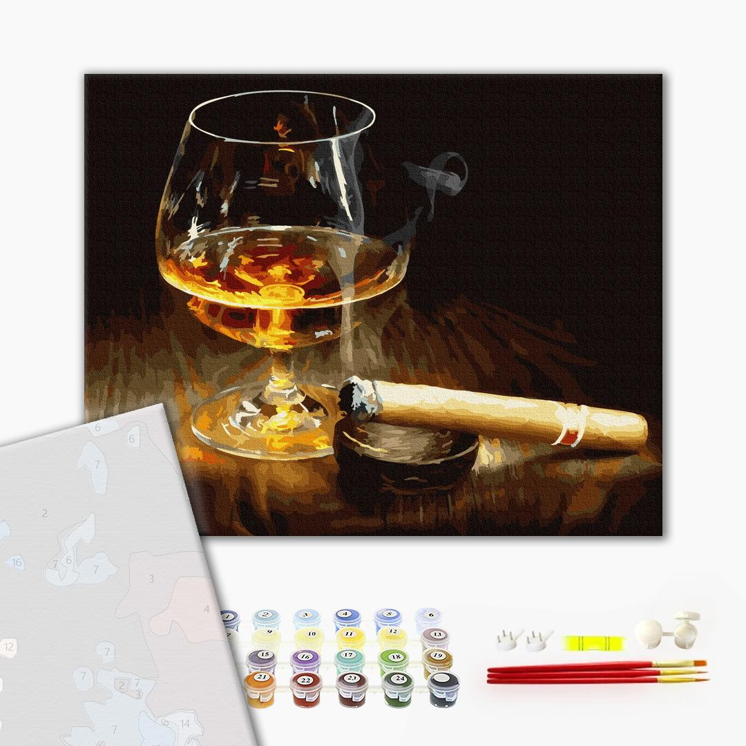 Картина по номерам ПРЕМИУМ картины - Коньяк и сигара