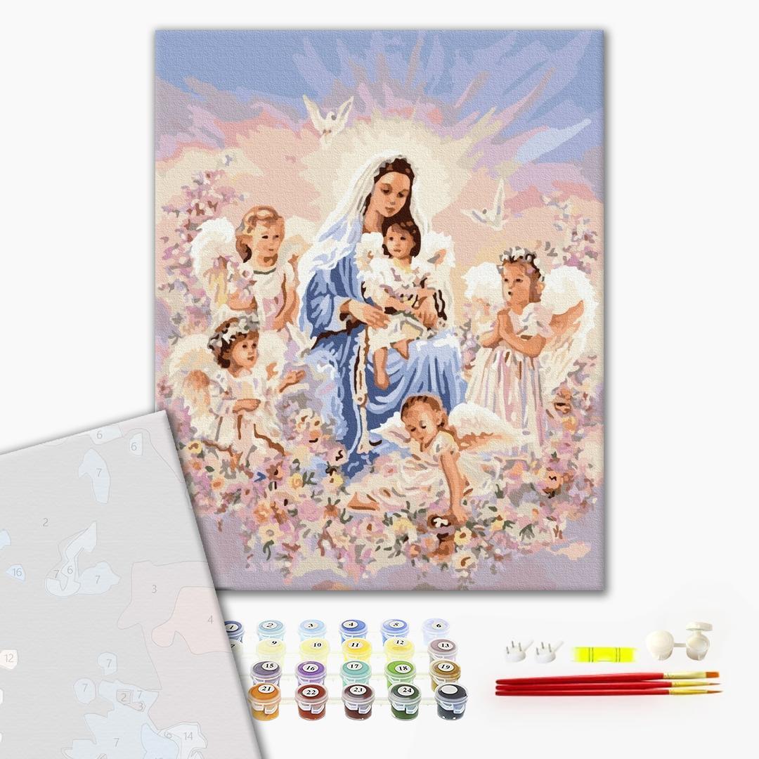 Картина по номерам ПРЕМИУМ картины - Дева и ангелы