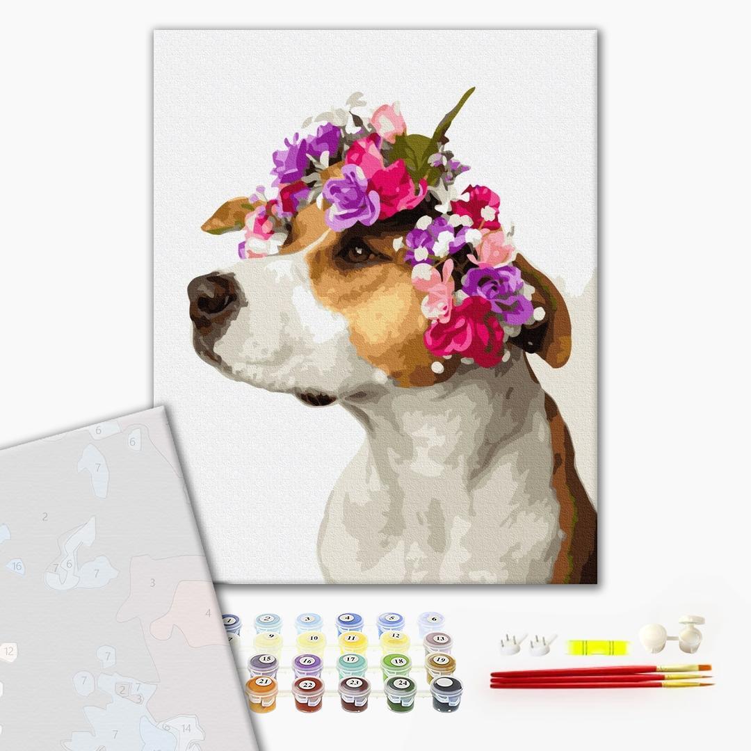 Картина по номерам ПРЕМИУМ картины - Собачка в віночку