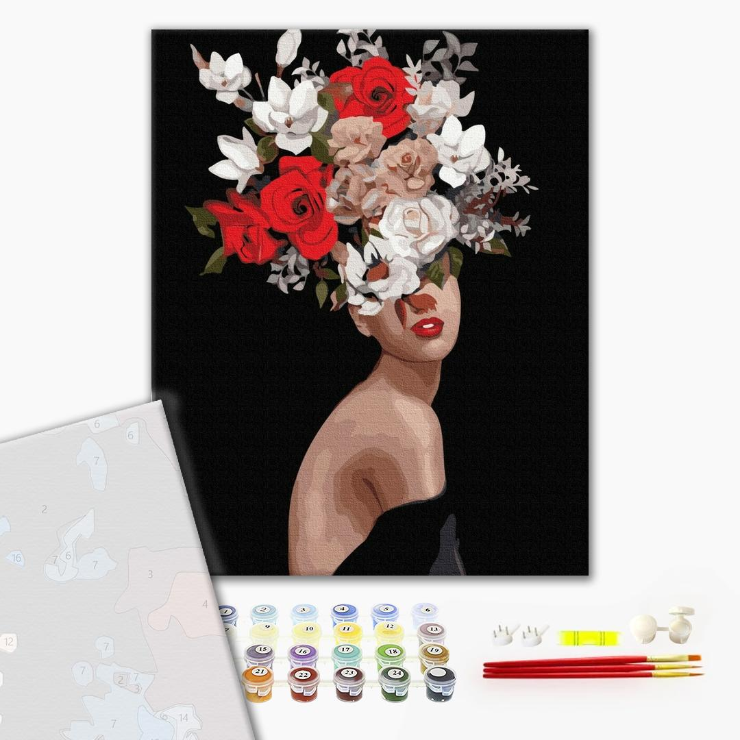 Картина по номерам ПРЕМИУМ картины - Думки в квітах