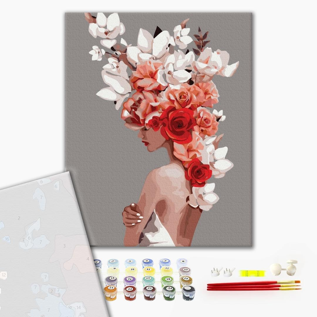 Картина по номерам ПРЕМИУМ картины - Цветочная тиара
