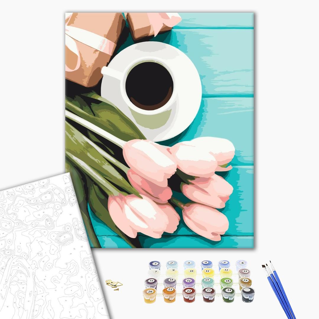 Картина по номерам Цветы - Тюльпаны к кофе