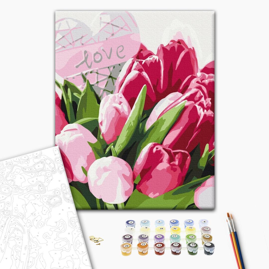 Картина по номерам Цветы - Тюльпаны с любовью
