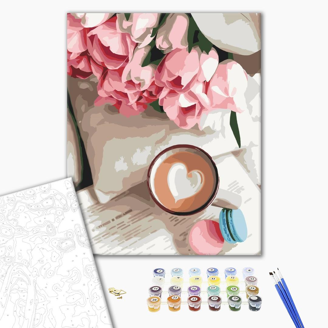 Картина по номерам Цветы - Какао для любимой
