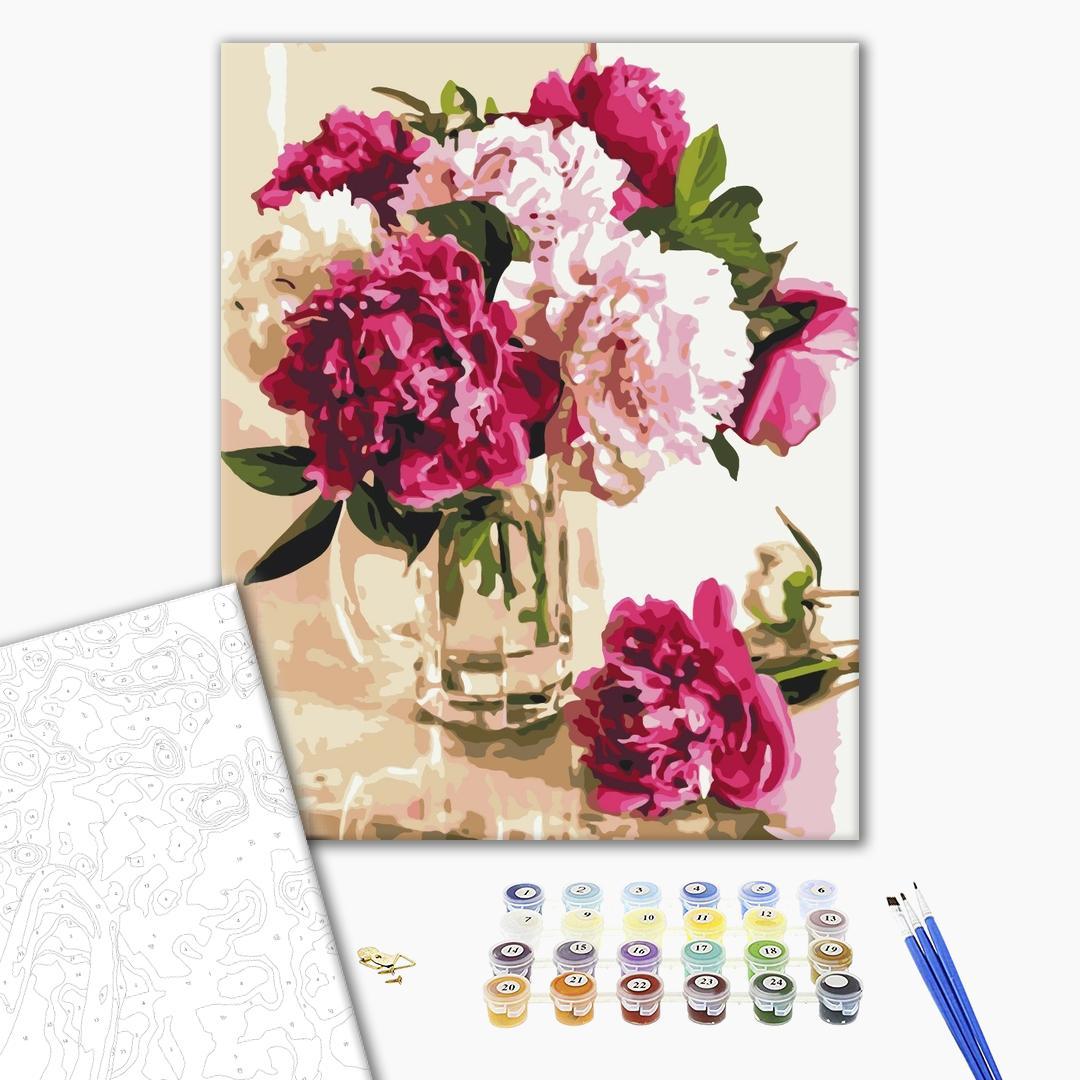 Картина по номерам Цветы - Нежные пионы в стеклянной вазе