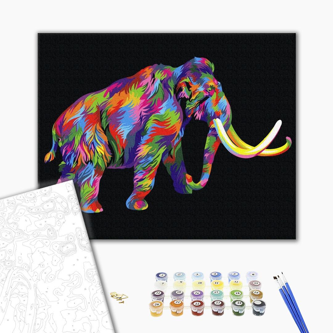 Картина по номерам Для начинающих - Радужный мамонт