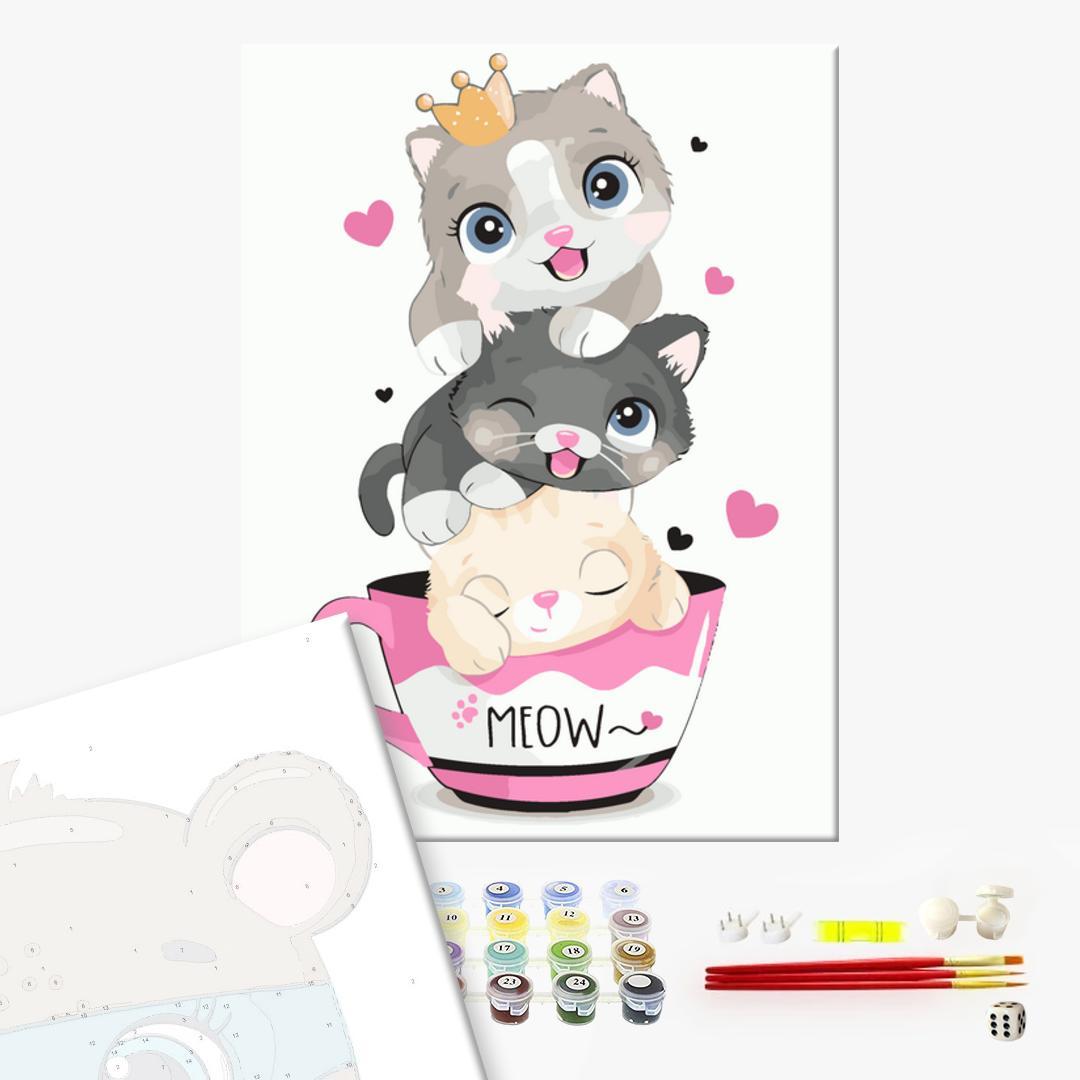 Картина по номерам KIDS - Котики в чашечці