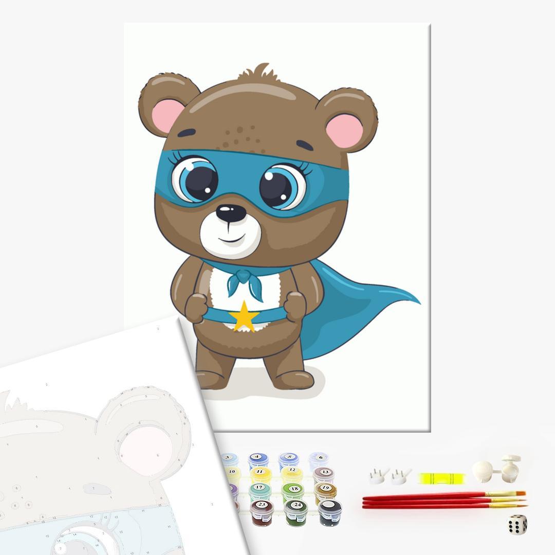 Картина по номерам KIDS - Мишка супергерой