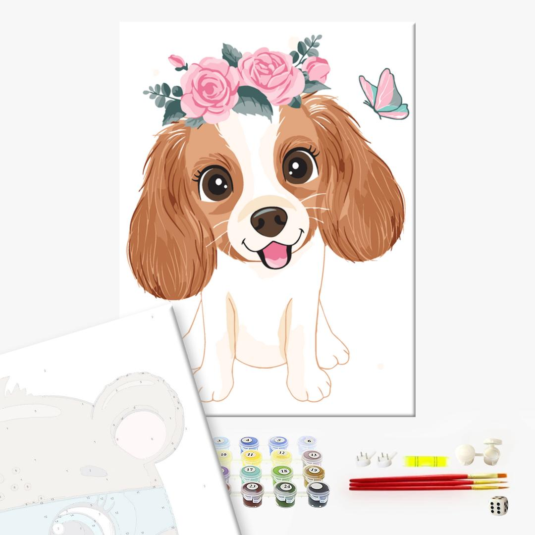 Картина по номерам KIDS - Собачка в веночке