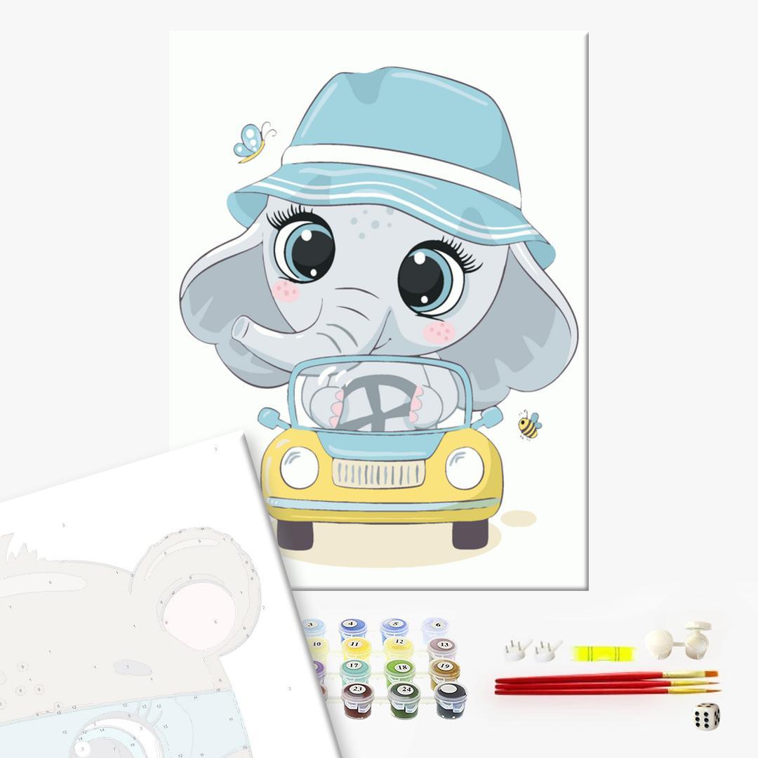 Картина по номерам KIDS - Слоненятко в панамці