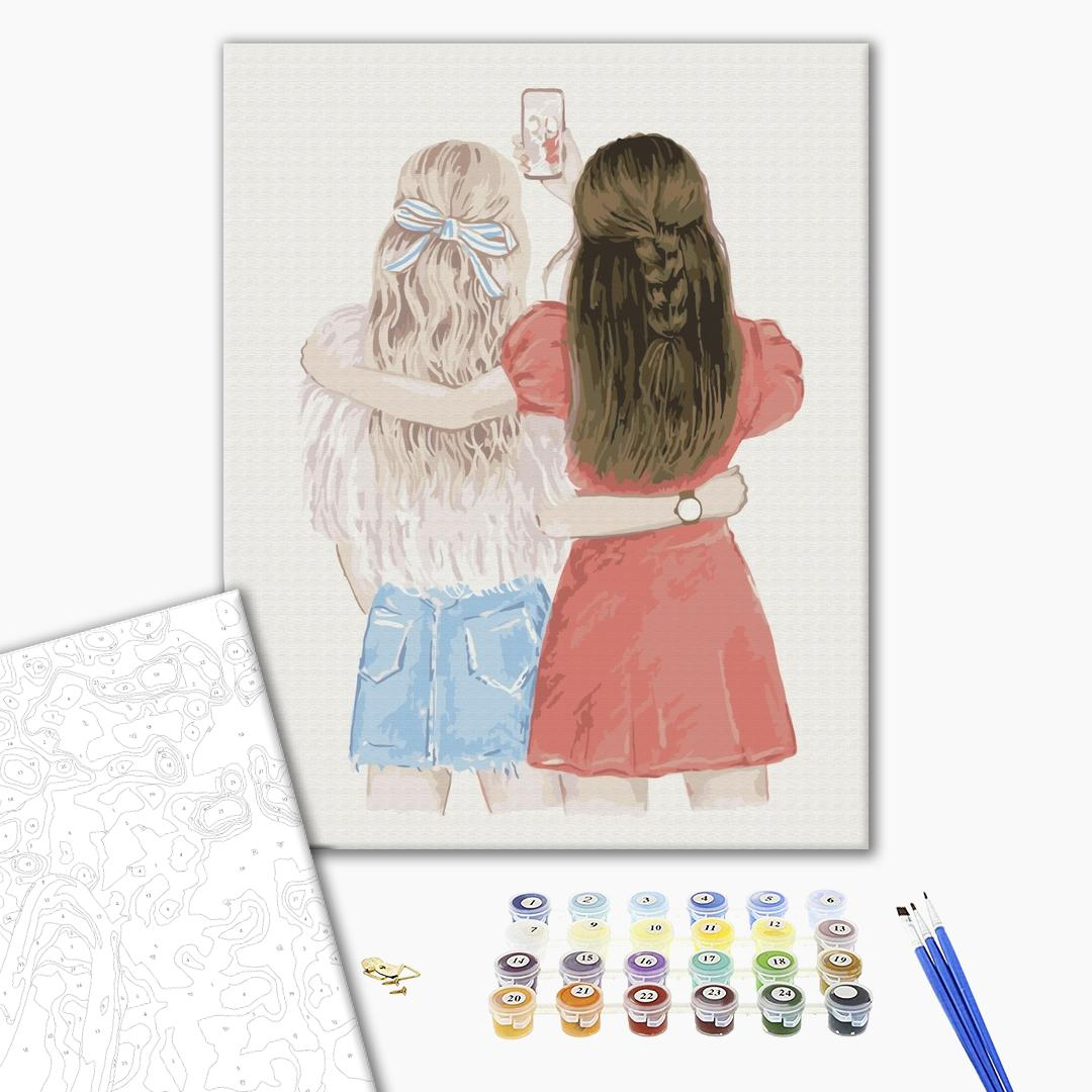 Картина по номерам Для начинающих - Селфи подружек