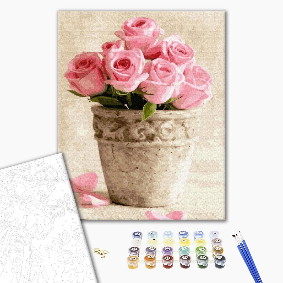 Картина по номерам Цветы - Розовые розы в горшочке