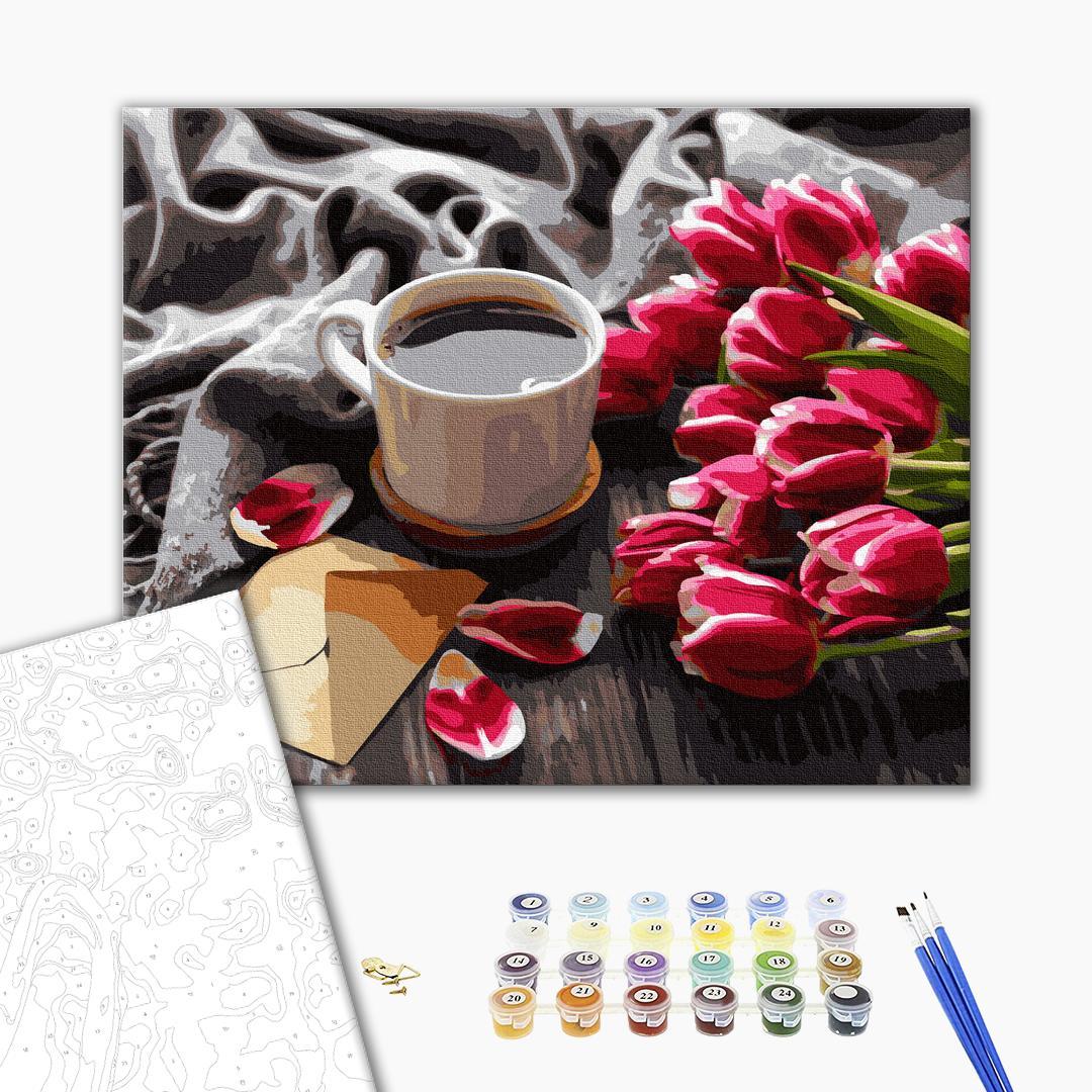 Картина по номерам Натюрморты - Тюльпани до кави