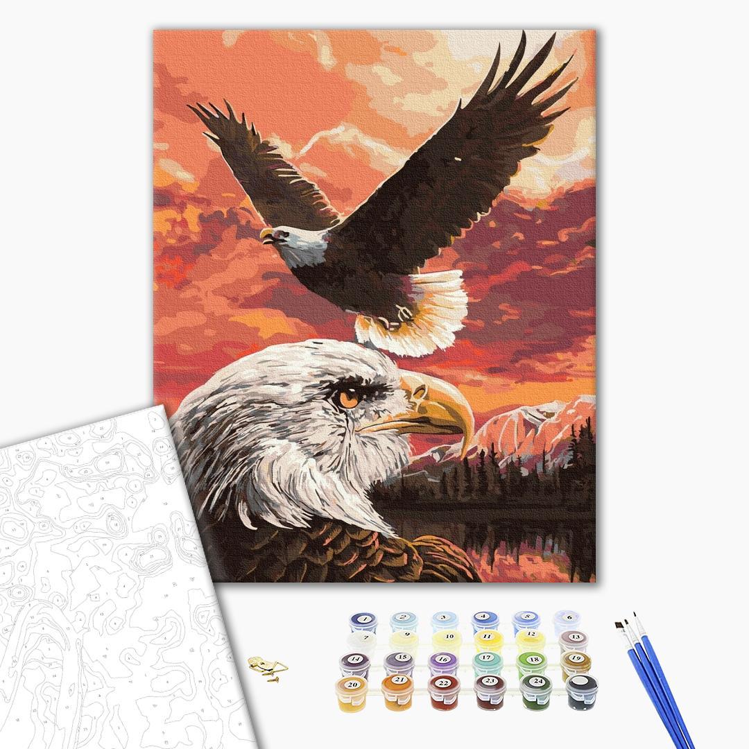 Картина по номерам Животные, птицы и рыбы - Полёт орлов