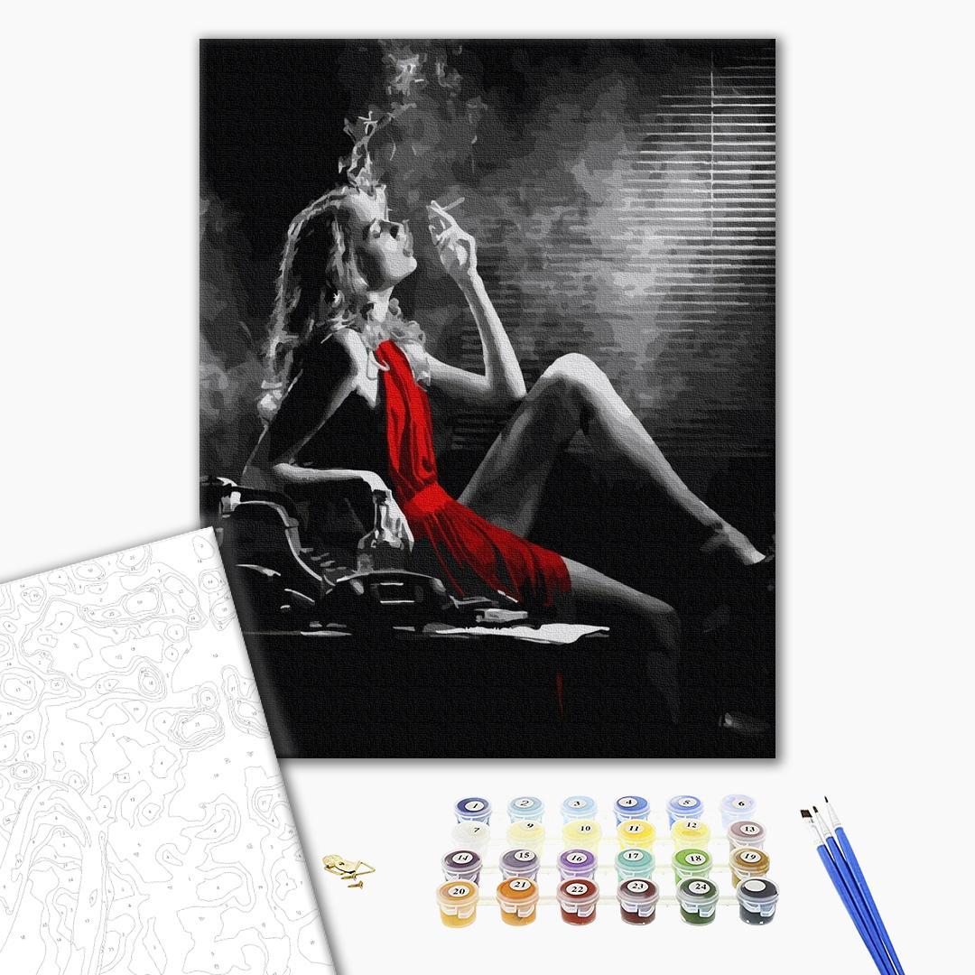 Картина по номерам Люди на картинах - Женщина в красном