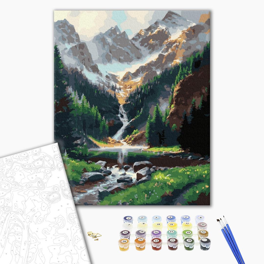 Картина по номерам Природа - Горный водопад