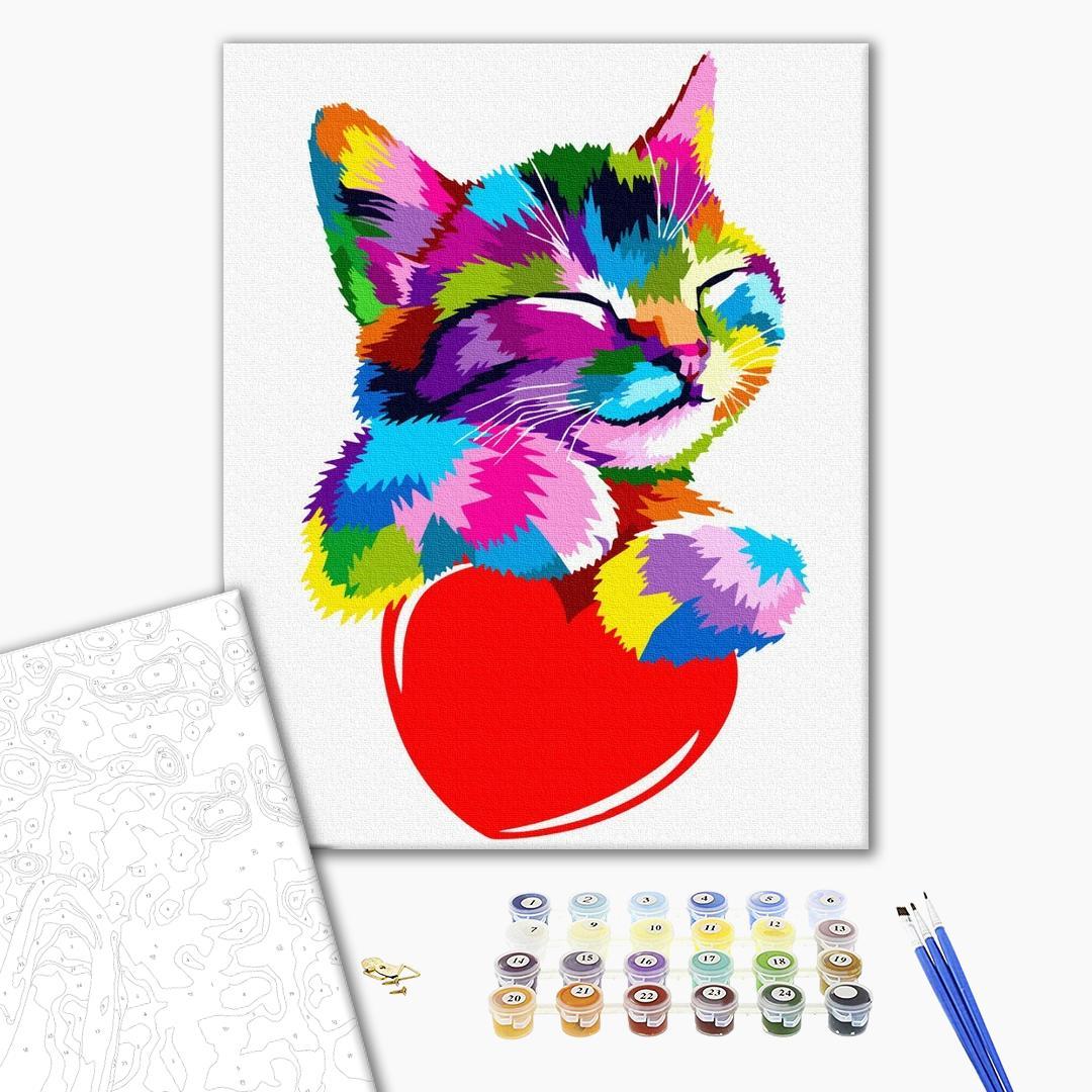 Картина по номерам Поп-арт - Котик в стиле поп-арт
