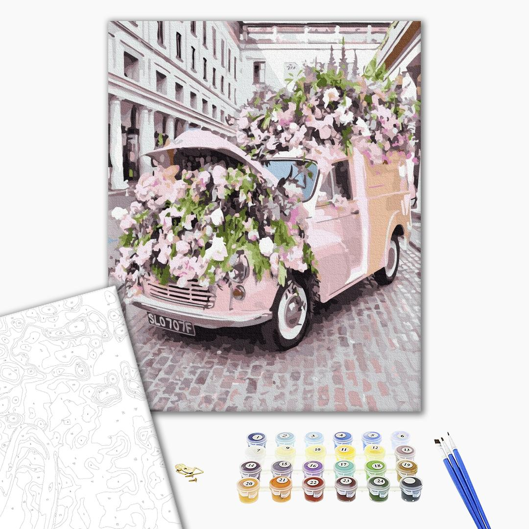 Картина по номерам Корабли, авто и самолеты - Цветочное авто