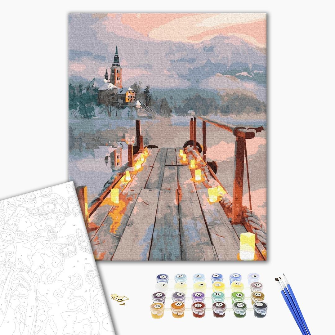 Картина по номерам Пейзажи - Романтика зимового вечора
