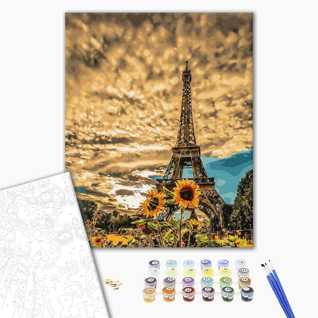 Картина по номерам Города - Соняшники біля Ейфелевої вежі