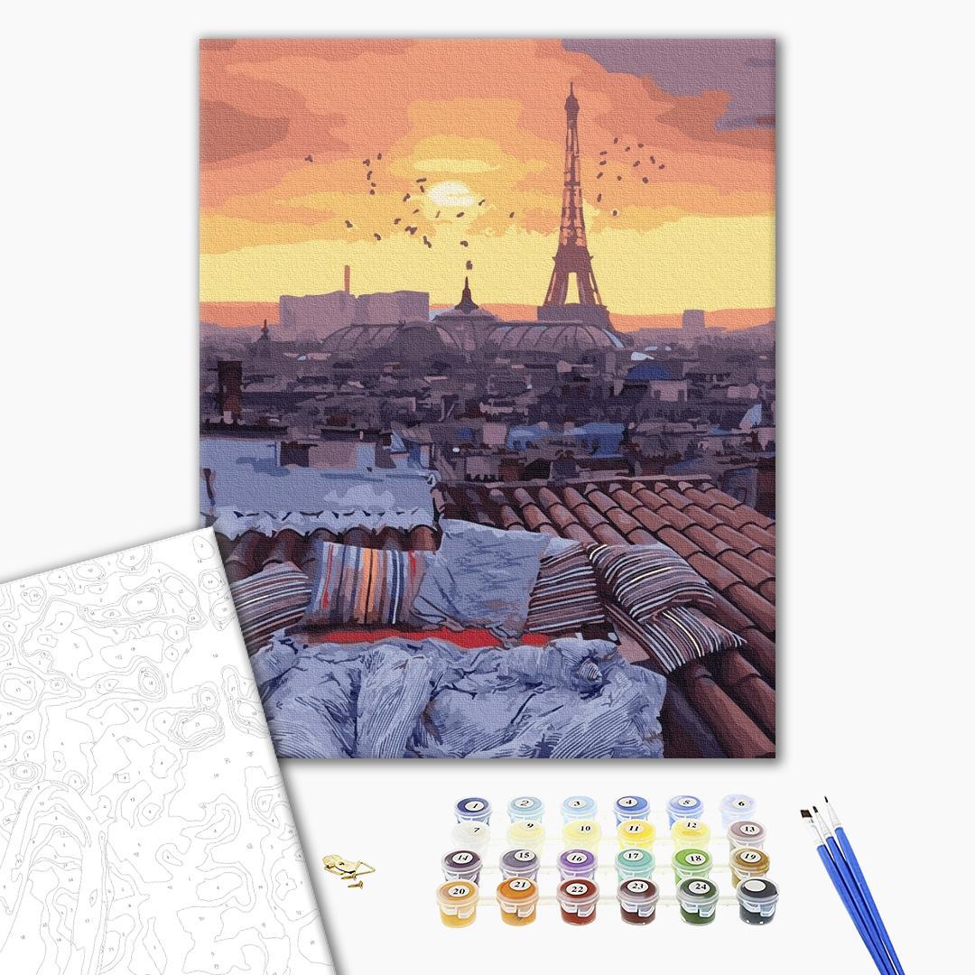 Картина по номерам Города - Захід сонця з видом на Париж